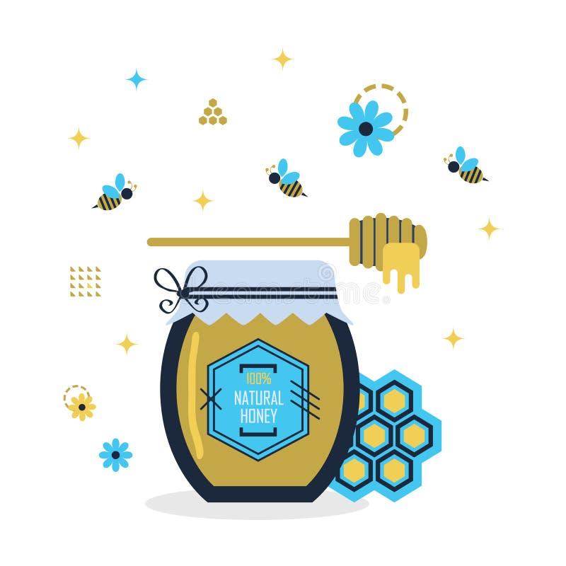 Tarro natural azul y de oro de la miel del ciento por ciento con las pequeños abejas y muestras y símbolos libre illustration