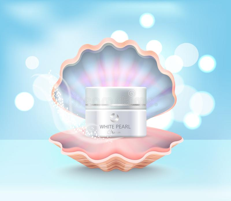 Tarro poner crema cosmético en Shell Vector Illustration stock de ilustración