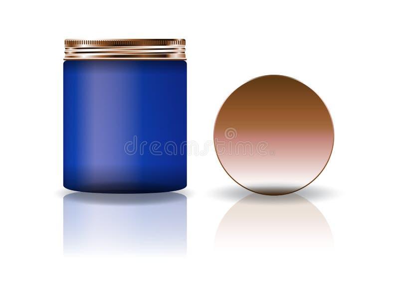 Tarro redondo cosmético azul del espacio en blanco con la tapa de cobre en alto tamaño libre illustration
