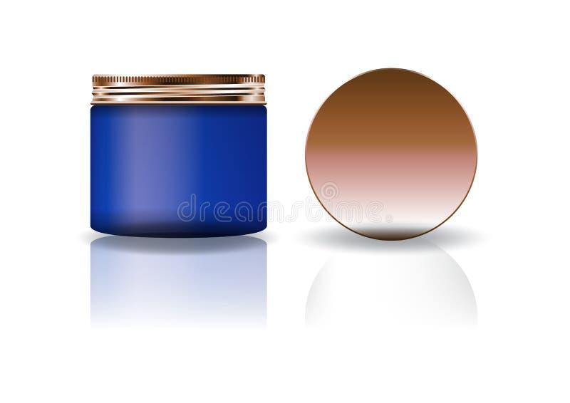 Tarro redondo cosmético azul del espacio en blanco con la tapa de cobre en alto tamaño medio stock de ilustración