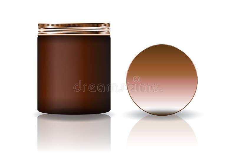 Tarro redondo cosmético marrón del espacio en blanco con la tapa de cobre en alto tamaño stock de ilustración