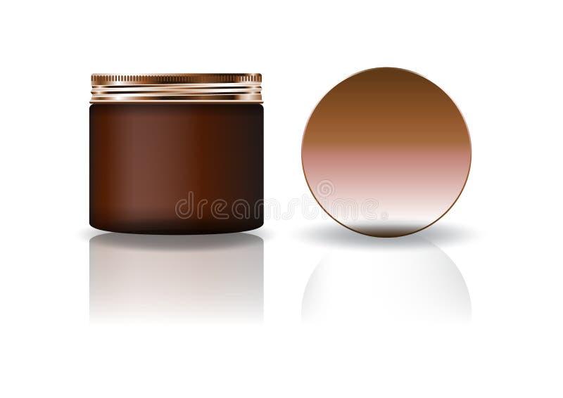 Tarro redondo cosmético marrón del espacio en blanco con la tapa de cobre en alto tamaño medio stock de ilustración