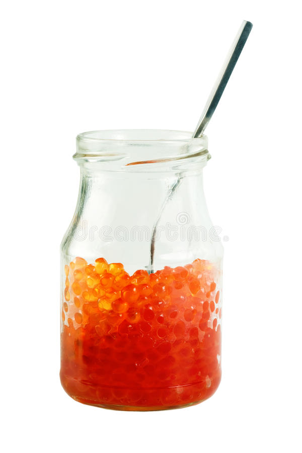 Tarro rojo del caviar fotos de archivo libres de regalías