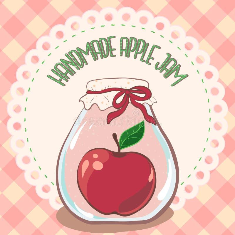 Tarro rojo hecho a mano del atasco de la manzana en etiqueta del tapetito del cordón y mantel de la guinga Ejemplo del vector, EP stock de ilustración