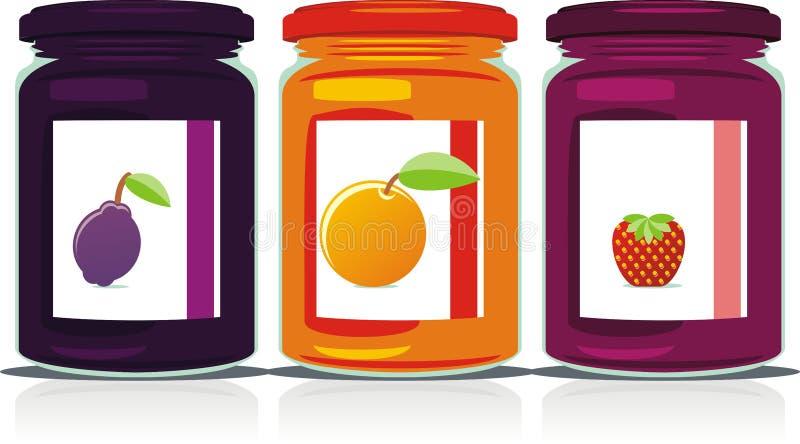 Tarros coloreados aislados del atasco fijados libre illustration