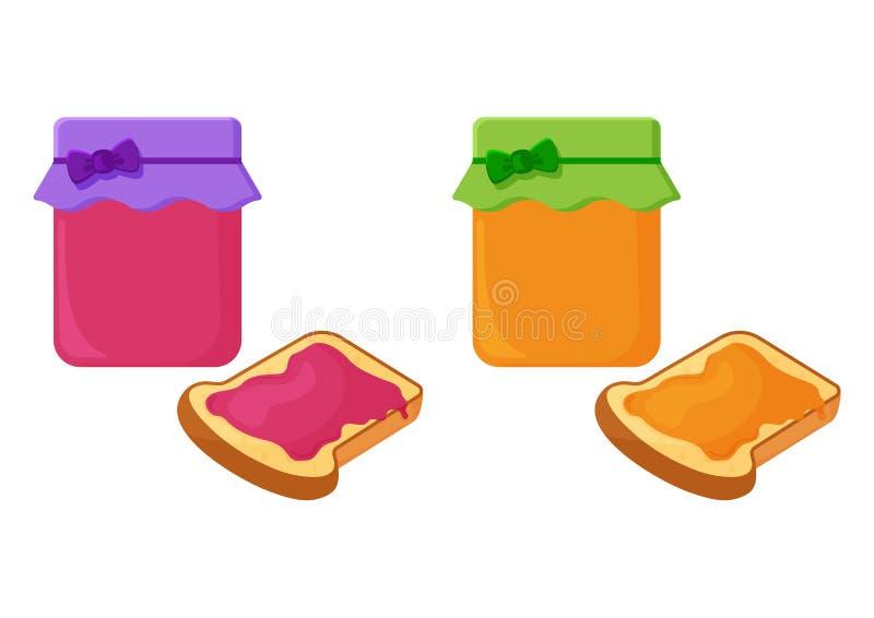 Tarros con el atasco de la fruta Partes del pan frito, de la tostada con la miel y del atasco Vector libre illustration