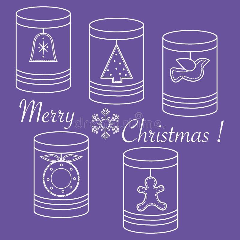 Tarros con las etiquetas de la Navidad y del Año Nuevo: Árbol de los hristmas del  de Ñ, campana, BI ilustración del vector