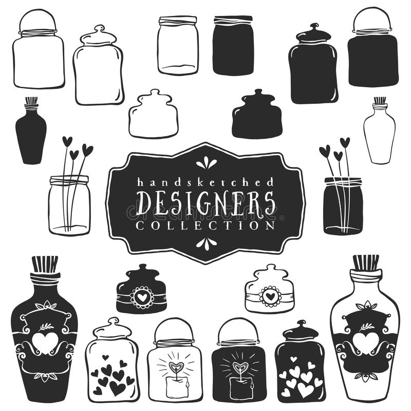 Tarros decorativos del vintage con la colección de los corazones Mano drenada libre illustration