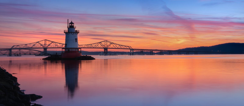 Tarrytown Lighthouse sunset panorama stock image