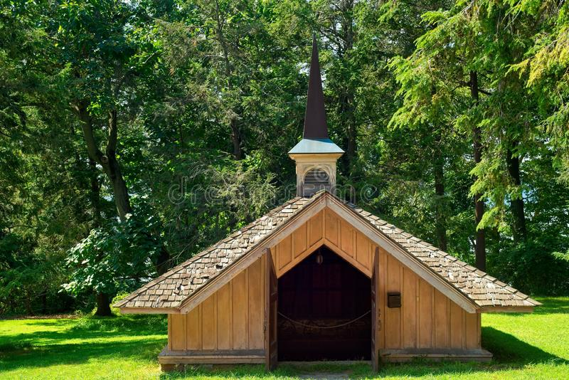 Chapel-like ice house at Sunnyside. TARRYTOWN, NY - SEPTEMBER 5, 2018: The ice house at Sunnyside, Washington Irving's bucolic estate. Irving whimsically royalty free stock photography