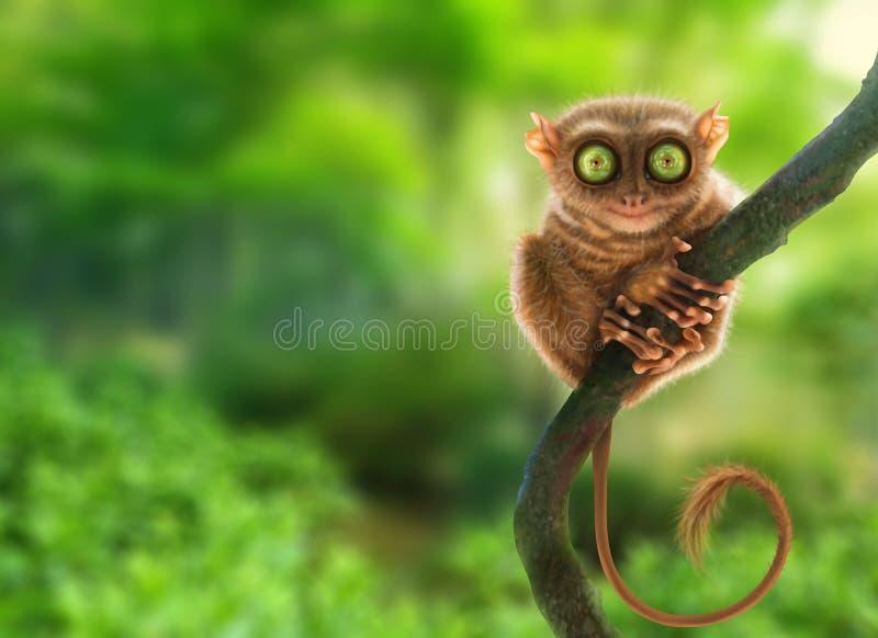 Tarsier猴子在自然环境里 abstact艺术深深数字式红色转动 向量例证