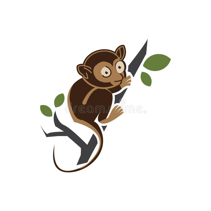 Tarsius vector Animal Character. Vector Illustration on White stock illustration