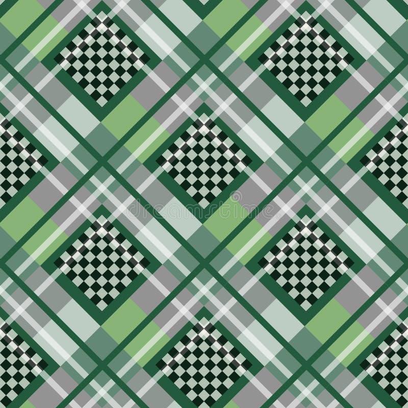 Tartán blanco del diamante de la serenidad verde con el ejemplo del vector del fondo del tablero de ajedrez ilustración del vector