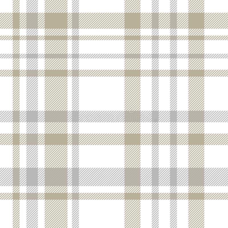 Tartán Modelo inconsútil del beige, gris y blanco de la tela escocesa Vintage s stock de ilustración