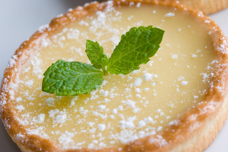 Tart au citron. Freshly baked tart au citron on a plate royalty free stock images