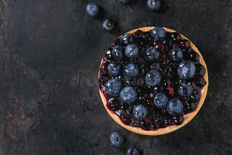 Tart with blueberries stock images