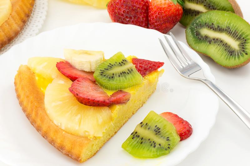 Tart with cream and fresh fruit stock photography