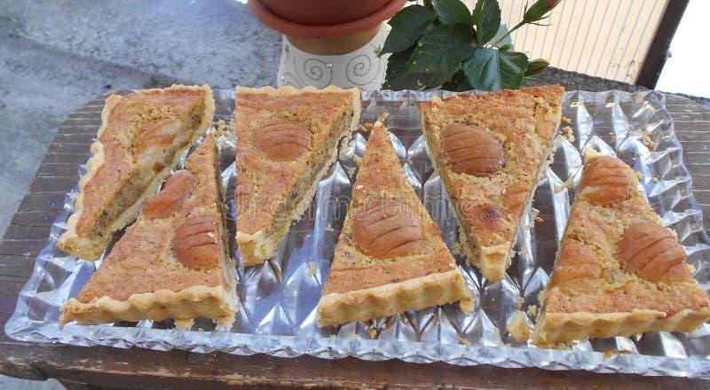 Tart Frangipane with pears royalty free stock image