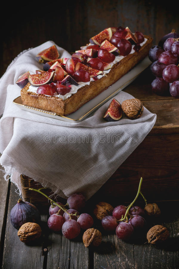 Tart with Grapes and Figs stock images