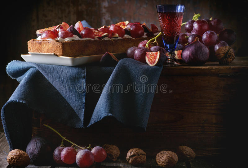 Tart with Grapes and Figs stock image