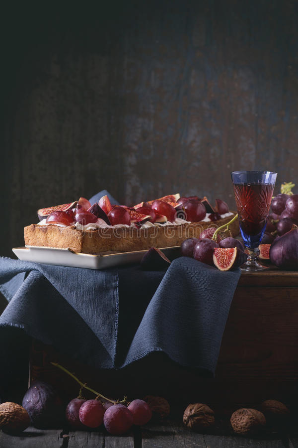 Tart with Grapes and Figs royalty free stock images