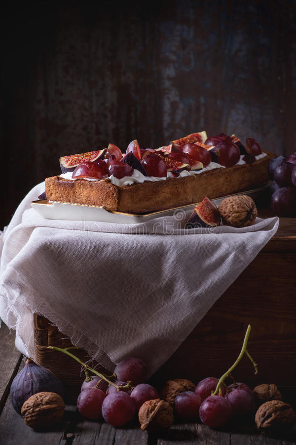 Tart with Grapes and Figs royalty free stock image