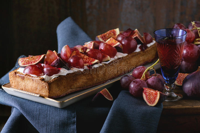 Tart with Grapes and Figs stock photography