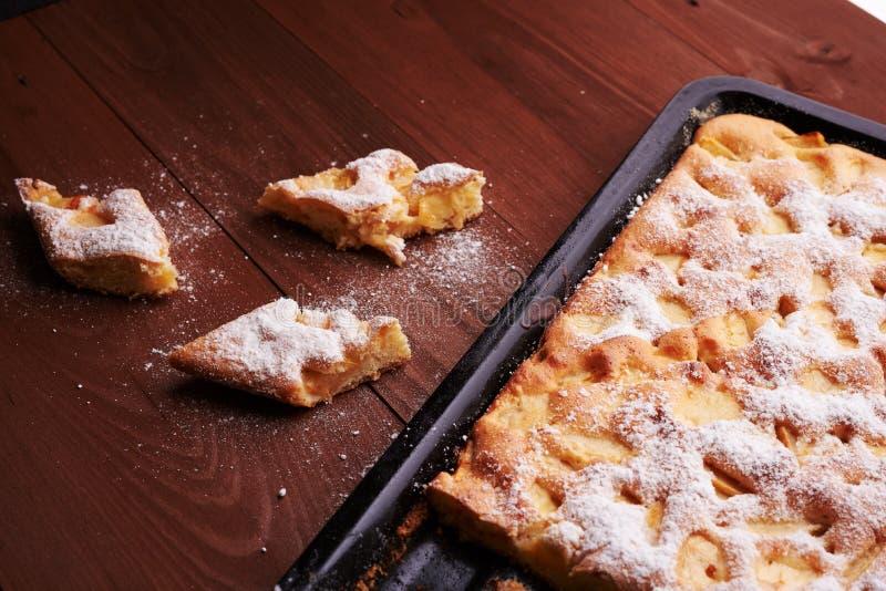 Tarta de manzanas de Charlotte en la cacerola y las rebanadas de torta fotografía de archivo libre de regalías