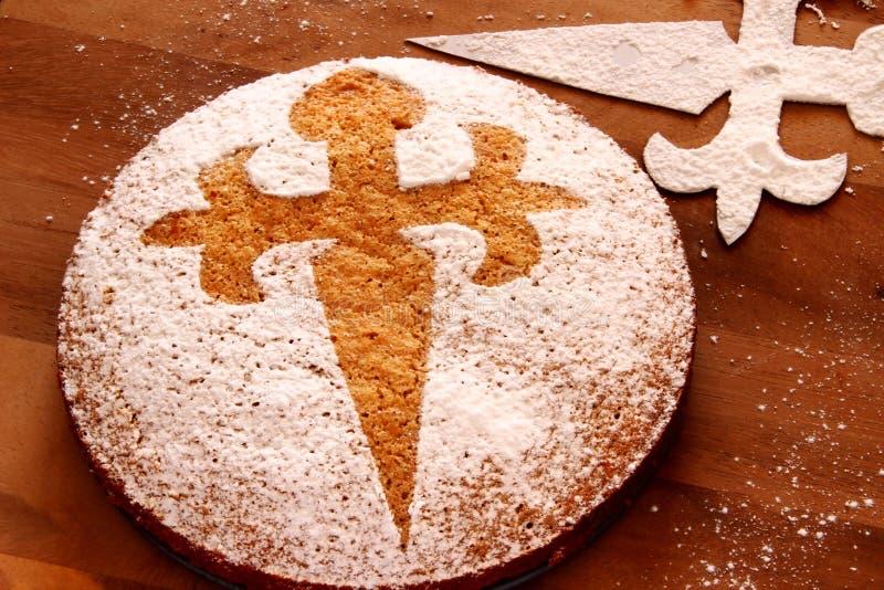 Tarta de Santiago - bolo da amêndoa fotos de stock royalty free