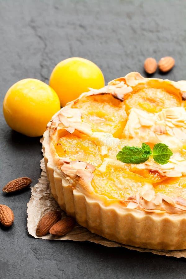 Tarta deliciosa con el ciruelo amarillo y las almendras aislados en blanco fotos de archivo libres de regalías