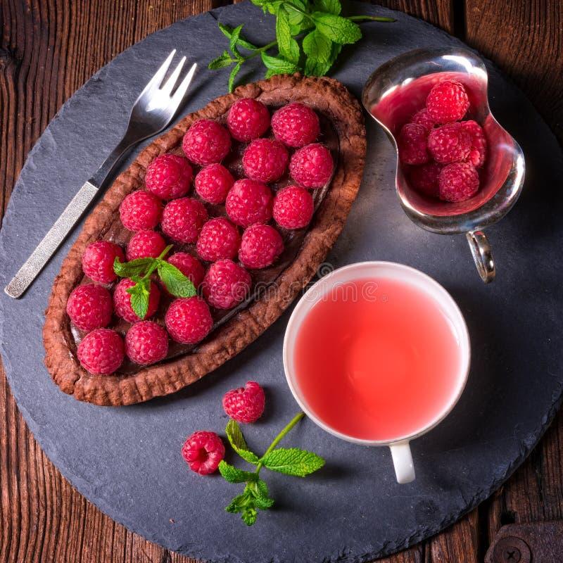 Tarta deliciosa del chocolate de la frambuesa con queso del ricotta imagen de archivo libre de regalías