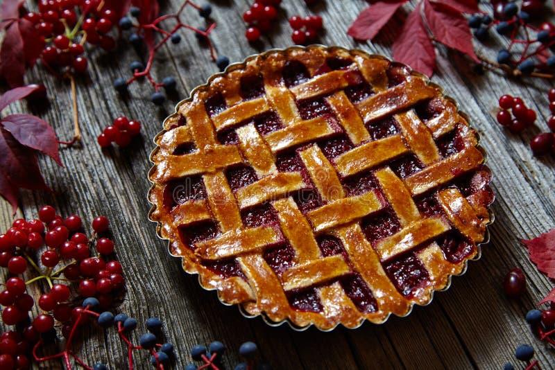 Tarta hecha en casa de la empanada de la frambuesa con las frambuesas y el atasco frescos Decoración del otoño imagen de archivo