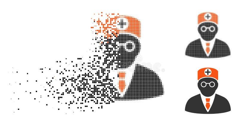Tarta kropki Halftone głowy lekarza ikona ilustracja wektor