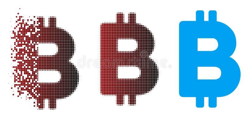 Tarta piksla Halftone Bitcoin listu ikona ilustracja wektor