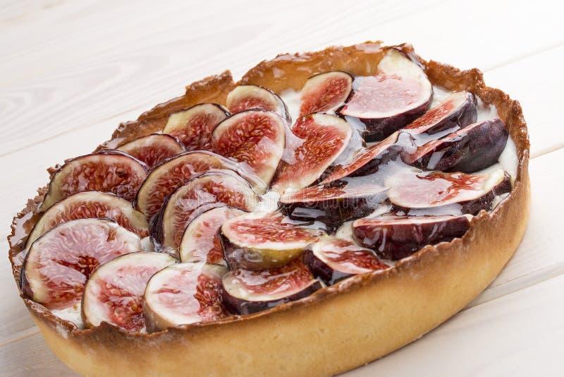 Tarta z figą z serową śmietanką zdjęcie stock