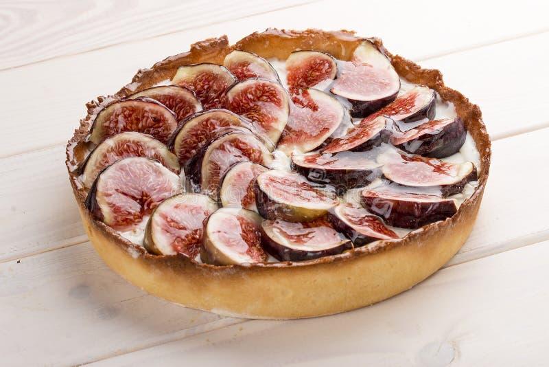 Tarta z figą z serową śmietanką zdjęcia stock