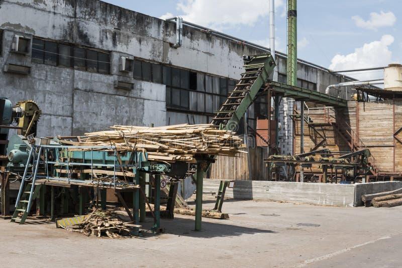 Tartaczna roślina dla plenerowy drewniany przetwarzać Przetwarzać szalunek przy tartakiem obraz stock