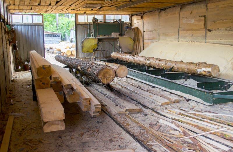 tartak Proces machining notuje dalej tartaczne maszyn piły drzewny bagażnik zdjęcie stock