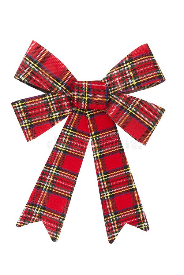 Tartan bow for Christmas decoration. Gift box wrapping concept. stock photos