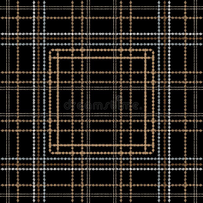Tartan embroidery colorful vector seamless pattern. Stitching striped textured plaid background. Tapestry repeat grunge backdrop. Vertical and horizontal royalty free illustration