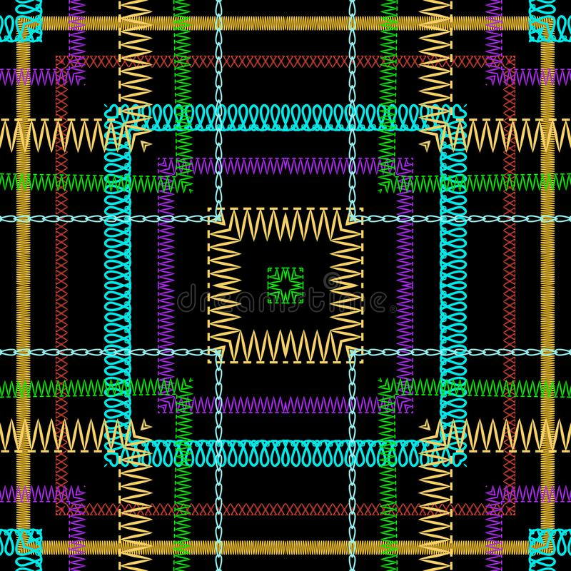 Tartan embroidery colorful vector seamless pattern. Zigzag stitching striped textured plaid background. Tapestry repeat. Grunge backdrop. Embroidered zig zag vector illustration