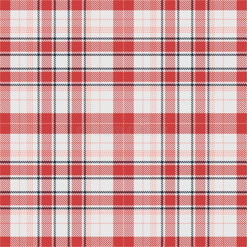 Tartan Pattern in Red and White. Texture for plaid, tablecloths, clothes, shirts, dresses, paper, bedding, blankets, quilts and other textile products. Vector stock illustration