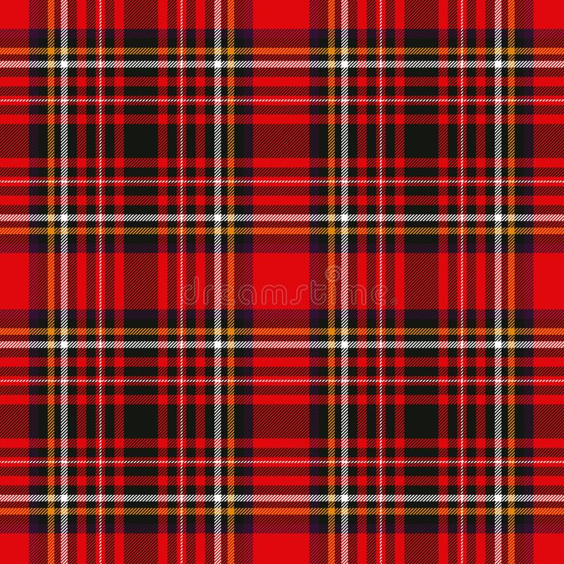 Tartan plaid red and black seamless checkered vector pattern. Vector EPS 10 royalty free stock photo