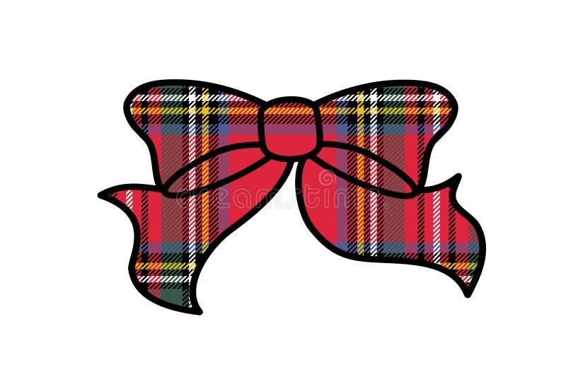 Tartan plaid ribbon bow on white background. Illustration design. Fashion, piece, scottish, repeat, fabric, scotland, creative, shape, hair, item, accessories vector illustration