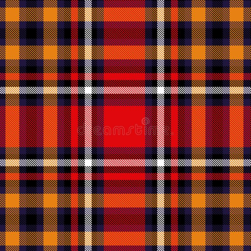 Tartan red and yellow seamless checkered vector pattern. Vector EPS 10 stock image