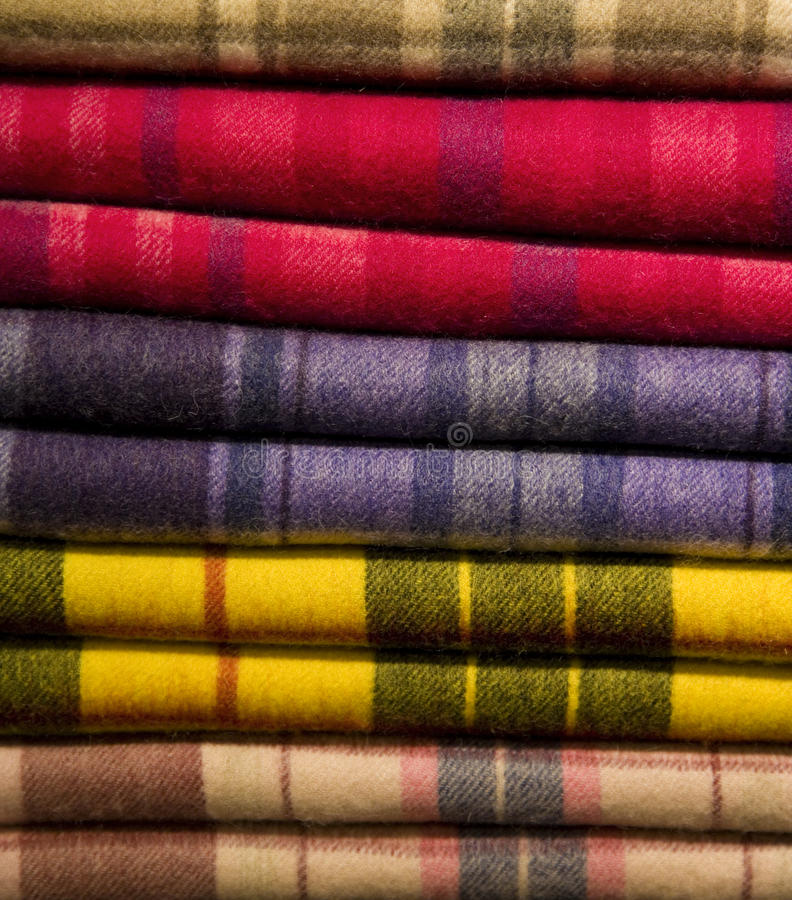 Tartan Scarfs. In a Stack royalty free stock image