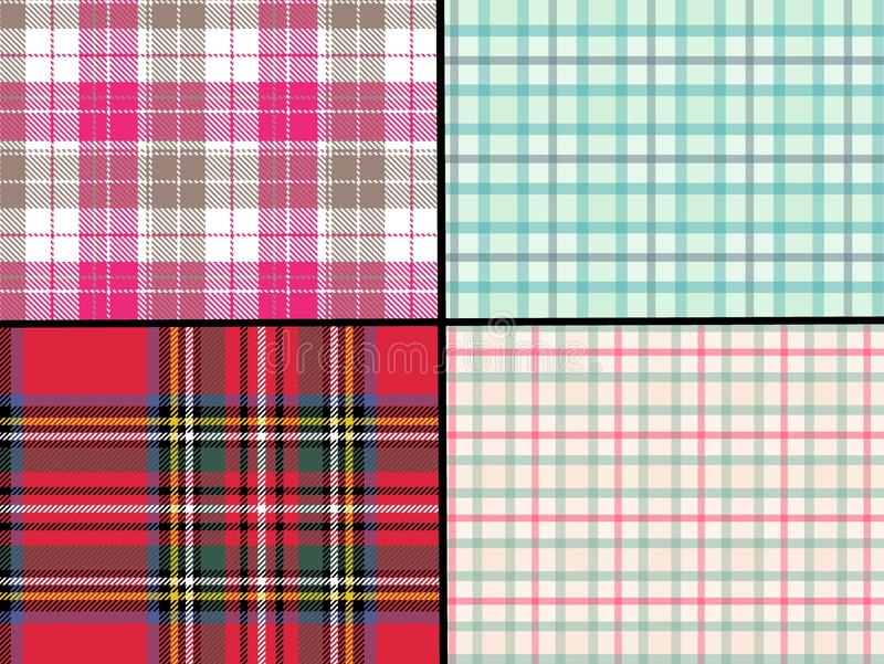 Tartan seamless pattern background set . illustration design. Fabric, plaid, pink, red, british, abstract, graphic, concept, cotyon, blanket, print, decor royalty free stock images