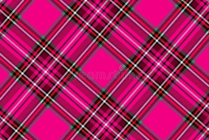 Tartan seamless pattern on the pink background . Illustration design royalty free stock photo