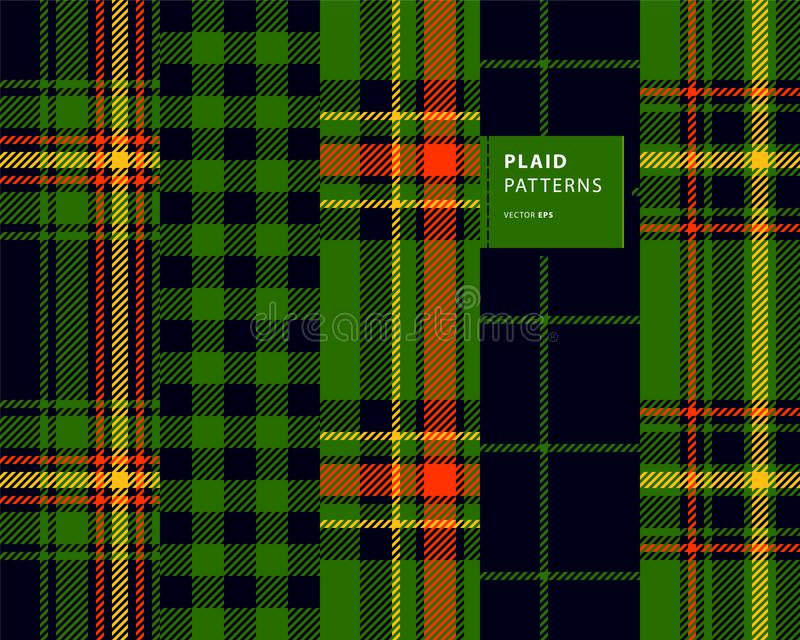 Tartan seamless patterns set. Plaid patterns with green and orange for St. Patrick`s Day vector illustration