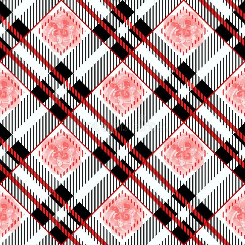 Tartan szkockiej kraty bezszwowy wzór Rewolucjonistki i czerni kolor Akwarela bezszwowa ilustracja wektor